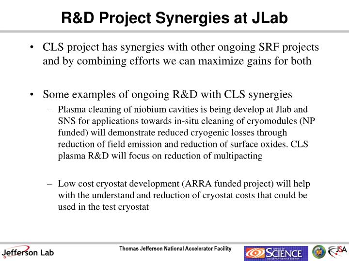 R&D Project Synergies at JLab