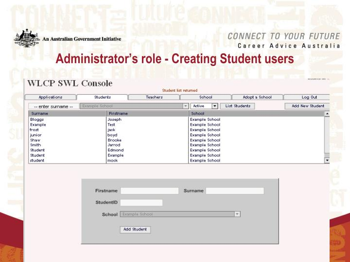 Administrator's role - Creating Student users
