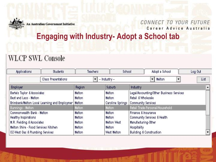 Engaging with Industry- Adopt a School tab