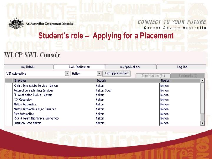 Student's role –  Applying for a Placement