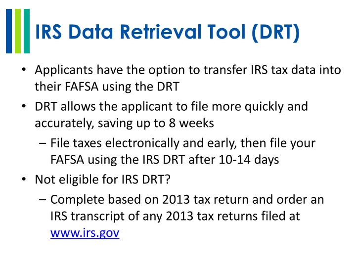 IRS Data Retrieval Tool (DRT)