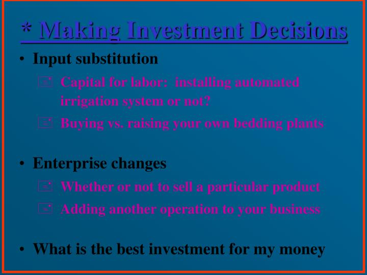 * Making Investment Decisions