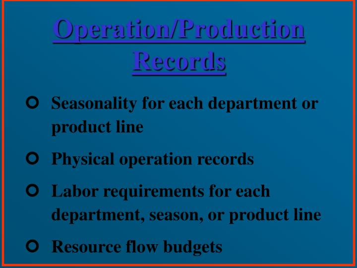 Operation/Production Records