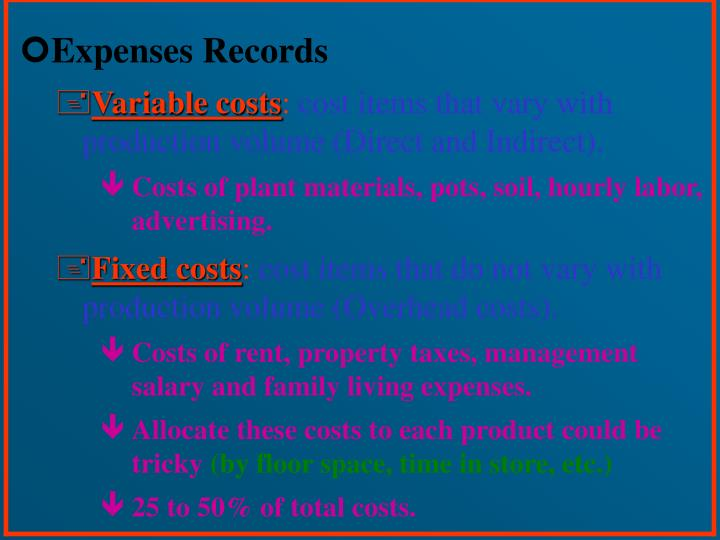 Expenses Records