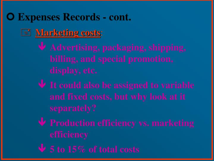 Expenses Records - cont.