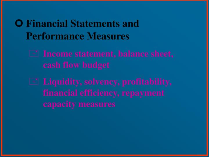 Financial Statements and Performance Measures
