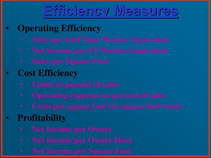 Efficiency Measures