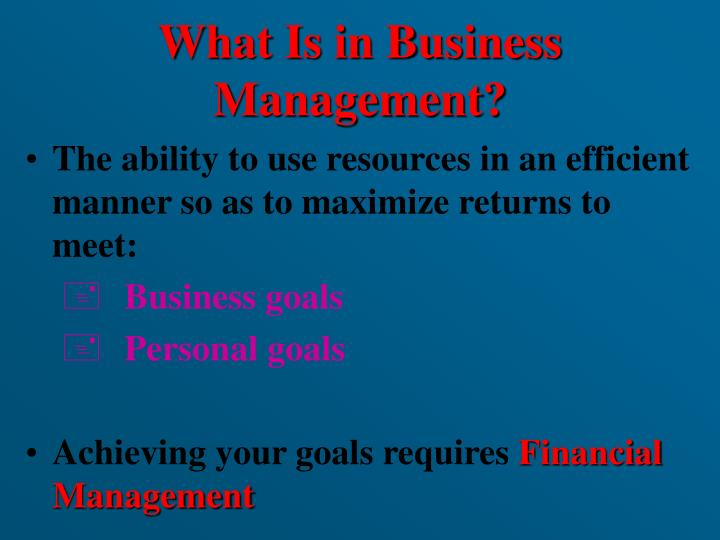 What Is in Business  Management?