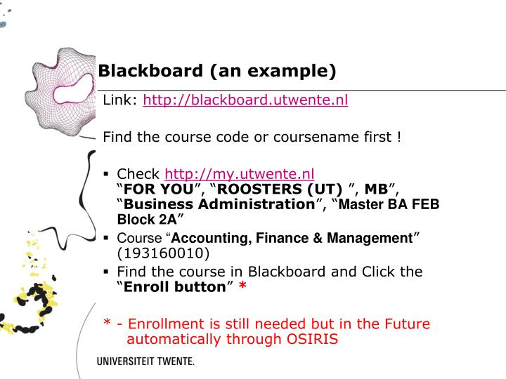 Blackboard (an example)