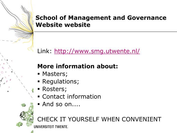 School of Management and Governance Website website