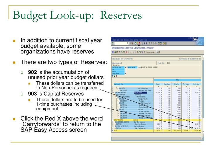 Budget Look-up:  Reserves