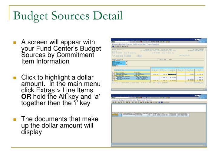 Budget Sources Detail