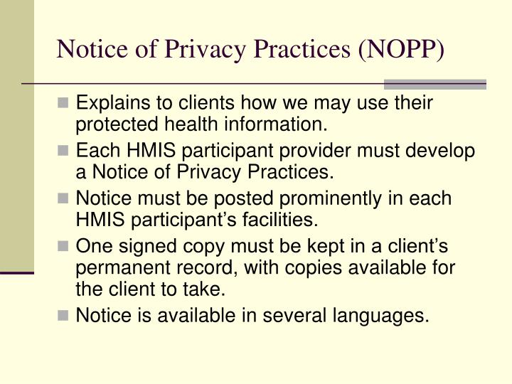 Notice of Privacy Practices (NOPP)