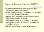 notice of privacy practices nopp