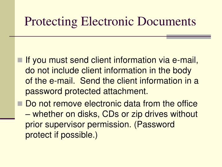Protecting Electronic Documents
