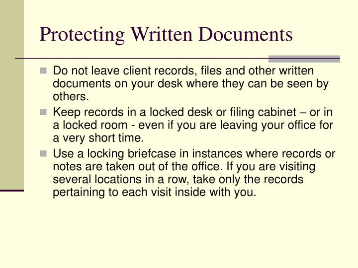 Protecting Written Documents