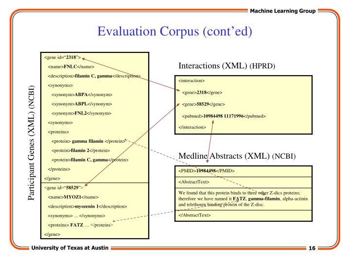 Evaluation Corpus (cont'ed)