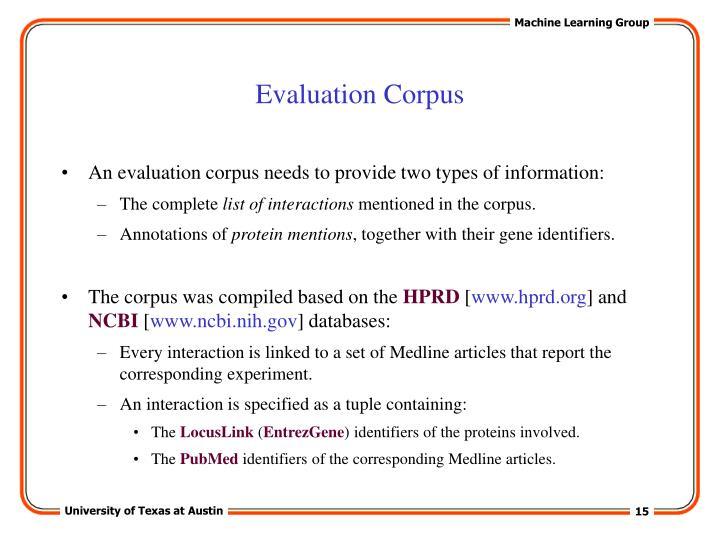 Evaluation Corpus