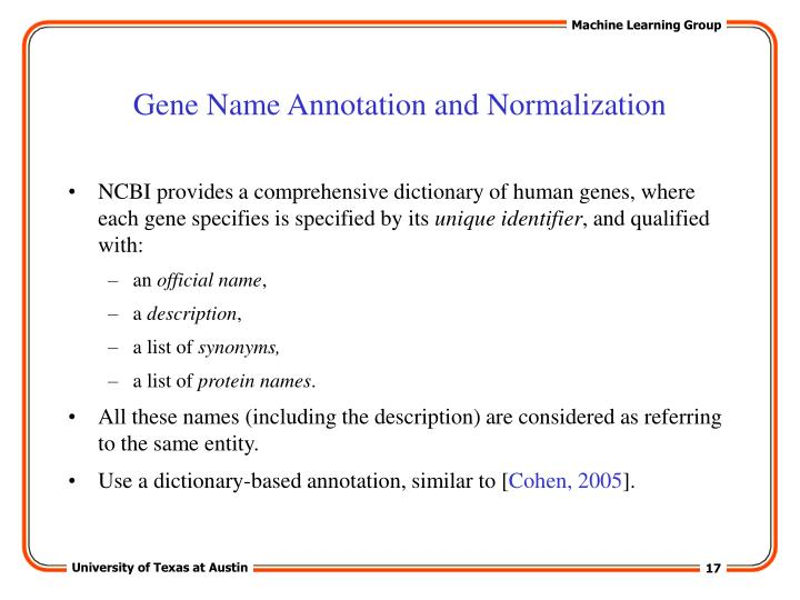 Gene Name Annotation and Normalization