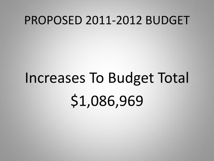 PROPOSED 2011-2012 BUDGET