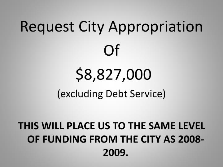 Request City Appropriation