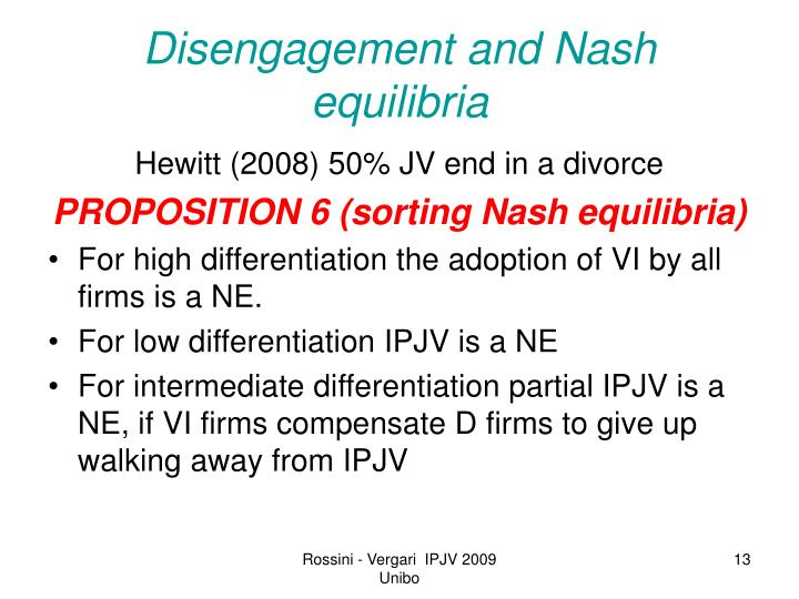 Disengagement and Nash equilibria