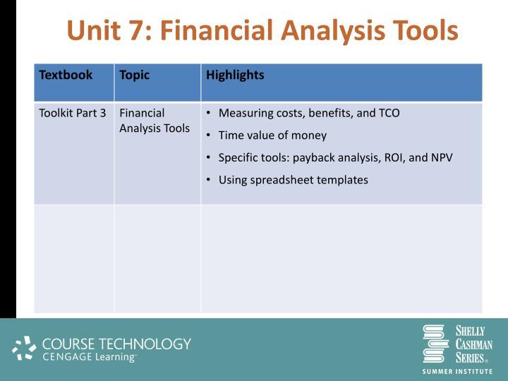 Unit 7: Financial Analysis Tools