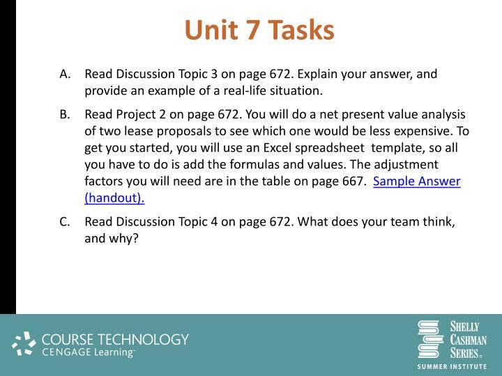 Unit 7 Tasks