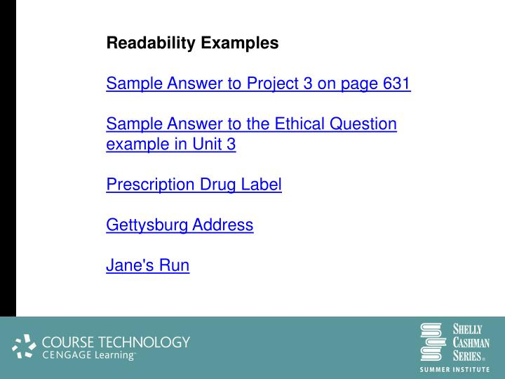 Readability Examples