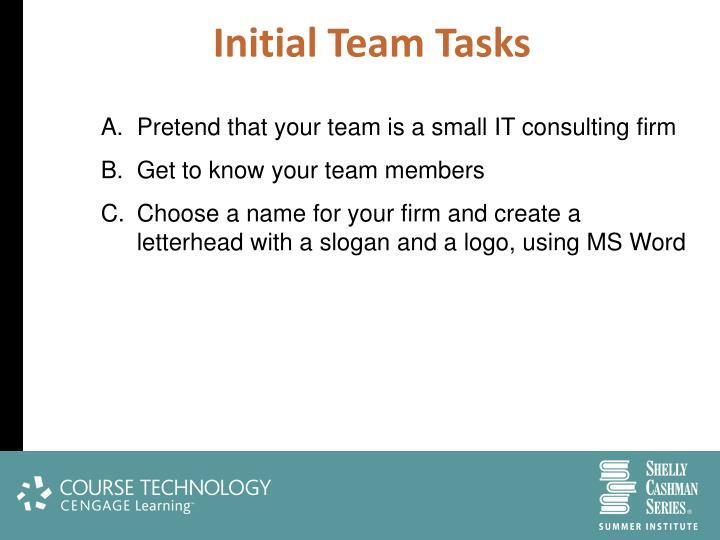 Initial Team Tasks
