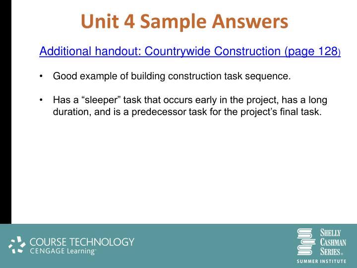 Unit 4 Sample Answers