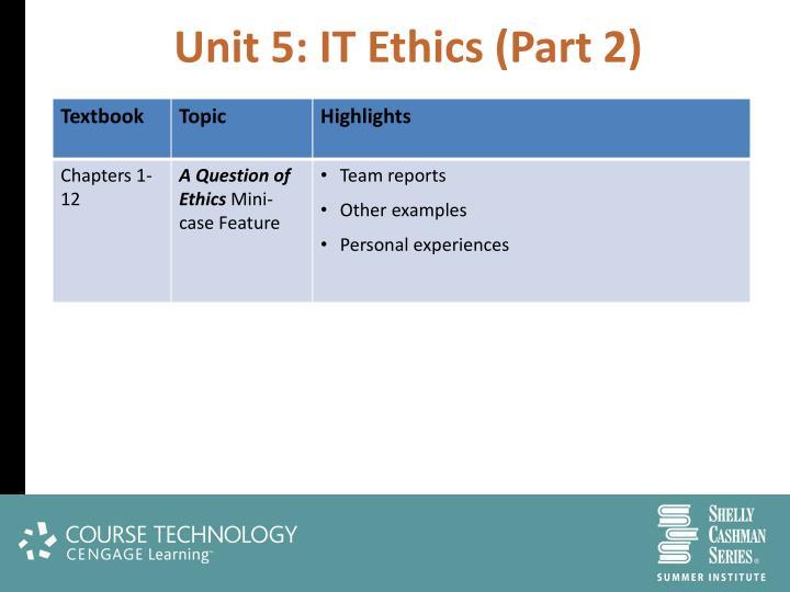 Unit 5: IT Ethics (Part 2)