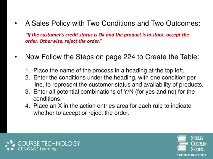 A Sales Policy with Two Conditions and Two Outcomes: