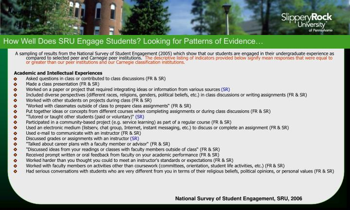 How Well Does SRU Engage Students? Looking for Patterns of Evidence…