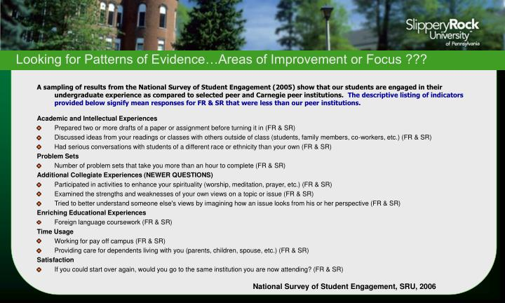 Looking for Patterns of Evidence…Areas of Improvement or Focus ???