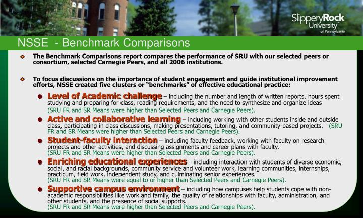 NSSE  - Benchmark Comparisons