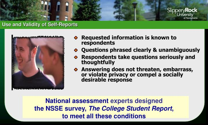 Use and Validity of Self-Reports