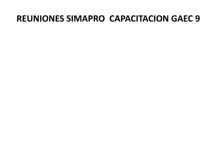 REUNIONES SIMAPRO  CAPACITACION GAEC 9