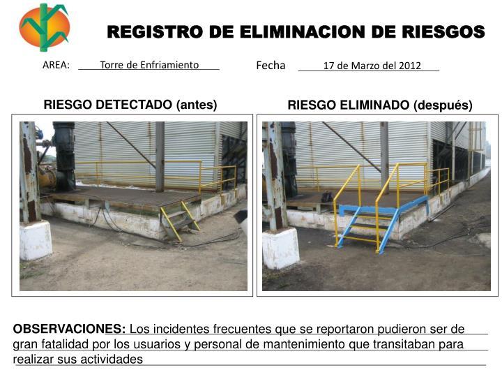 REGISTRO DE ELIMINACION DE RIESGOS