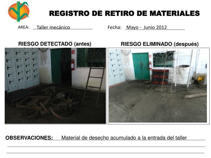 REGISTRO DE RETIRO DE MATERIALES