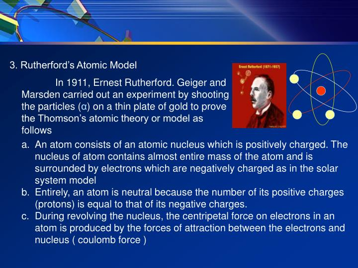 3. Rutherford's Atomic Model