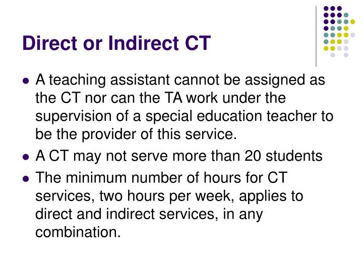 Direct or Indirect CT