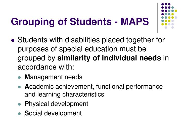 Grouping of Students - MAPS
