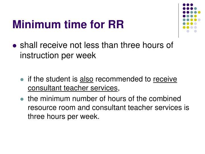 Minimum time for RR