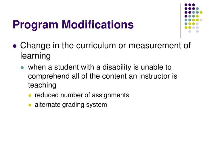Program Modifications