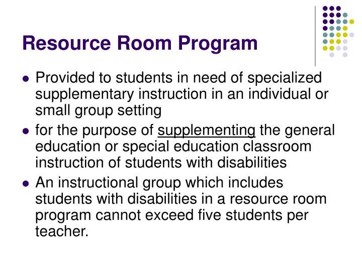 Resource Room Program