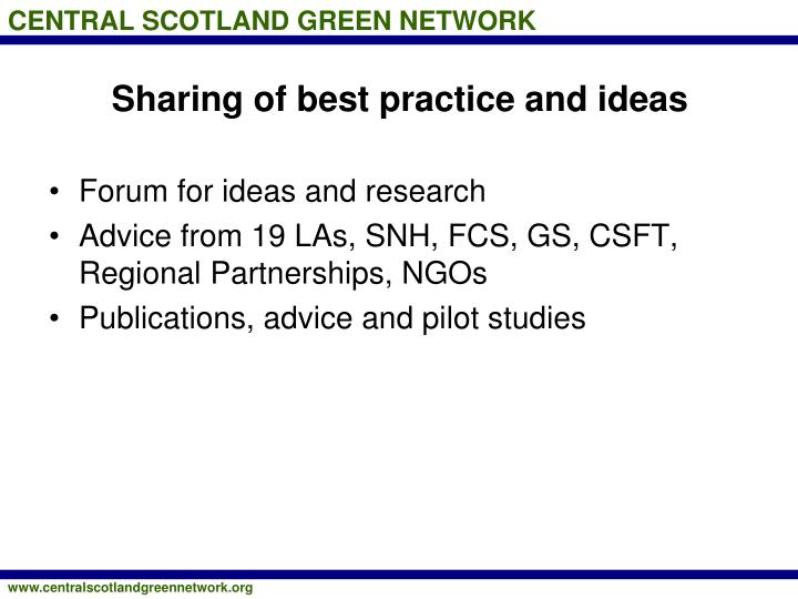 Sharing of best practice and ideas