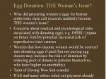 egg donation the woman s issue