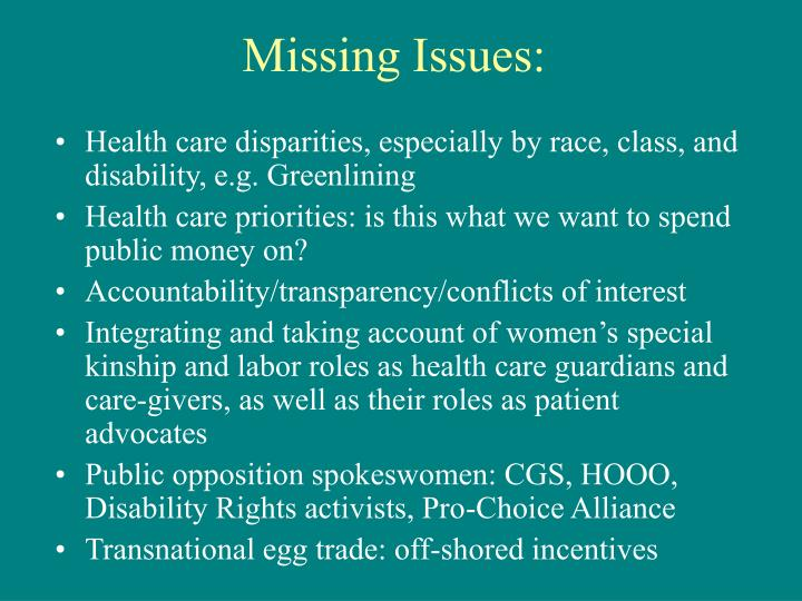 Missing Issues: