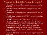priorities for publicly funded research